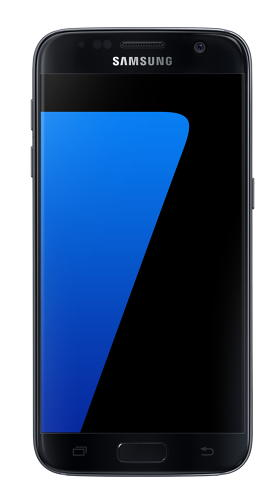 <p>Samsung Galaxy S7 in black onyx (front view).</p>