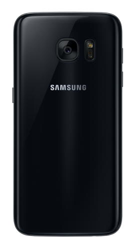 <p>Samsung Galaxy S7 in black onyx (rear view).</p>