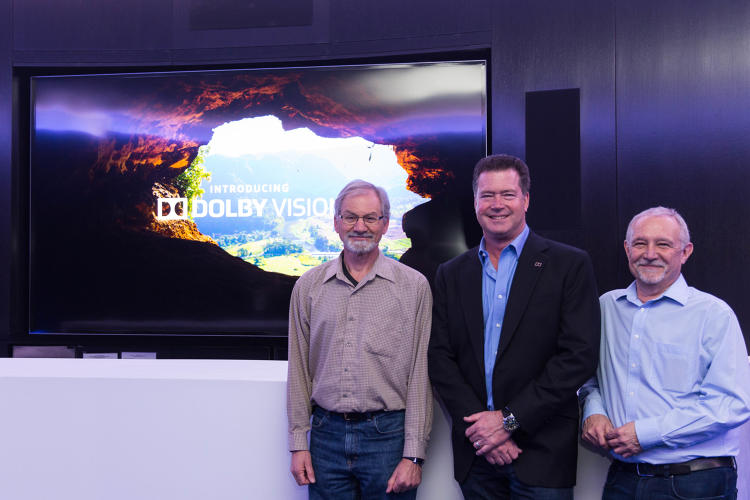 <p>(L-R) Dolby's Gary Epstein, Curt Behlmer, and Steve Venezia show off the Dolby Vision Vizio monitor in the background.</p>