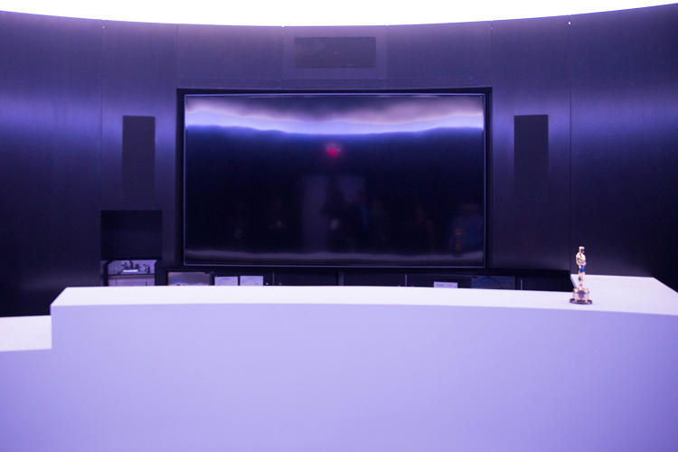 <p>The revamped Ray Dolby Lounge showcases Dolby Atmos surround sound and a Dolby Vision Vizio 120-inch 4K monitor.</p>