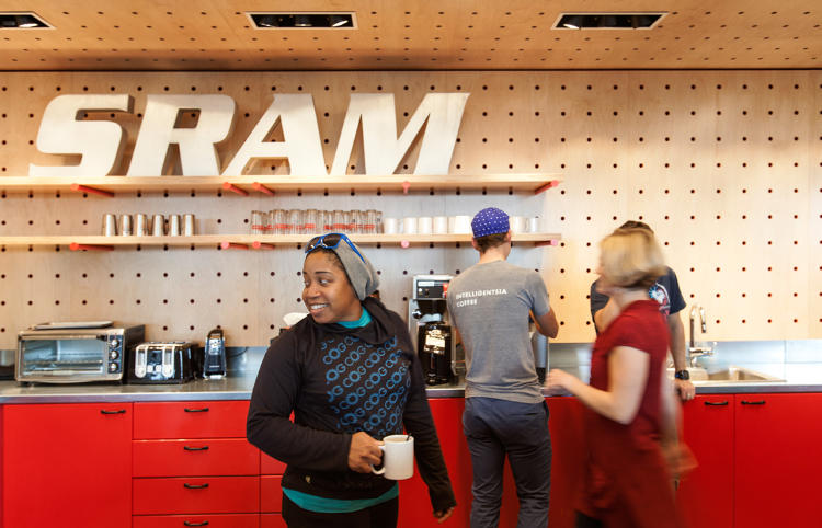 <p>A communal kitchen is an amenity for SRAM's employees.</p>