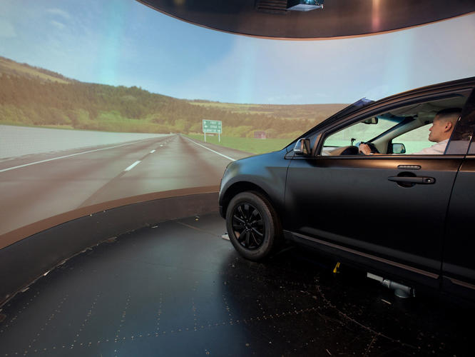 <p>Inside of Ford's virtual-reality testing environment, which is used to test new interfaces inside the car.</p>