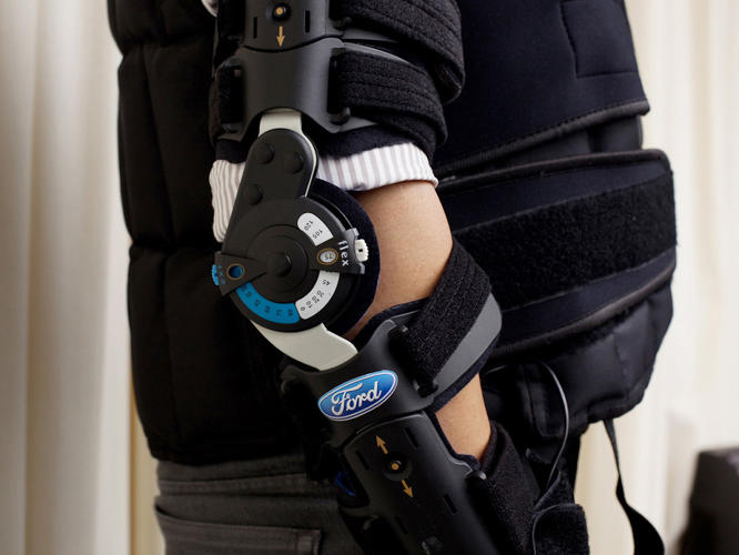 <p>A detail of the suit's elbow brace, which restricts your range of motion.</p>
