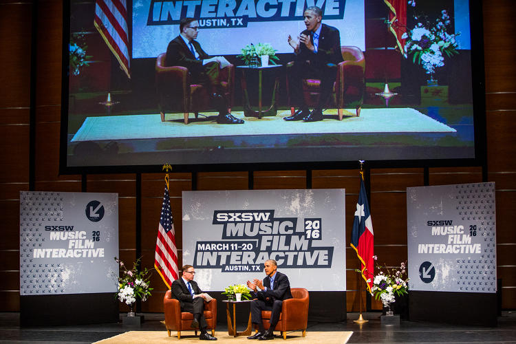 <p><strong>President Obama</strong> on stage at SXSWi 2016 with Texas Tribune editor-in-chief <strong>Evan Smith</strong>.</p>