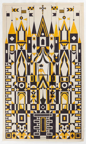 <p>Design drawing for textile panel, 63 x 110 cm, Alexander Girard, early 1970s.</p>