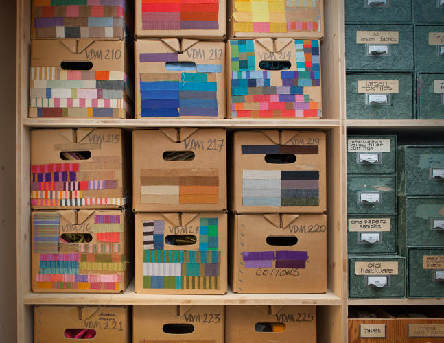 <p>Storage boxes arranged and labeled by Girard, Alexander Girard Estate, Vitra Design Museum.</p>