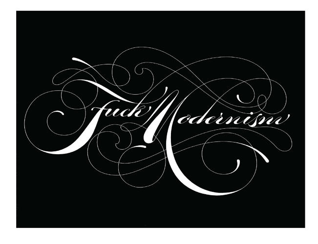 <p>This &quot;Fuck Modernism&quot; T-shirt by David Croy gives an example of a more opulent swash font.</p>