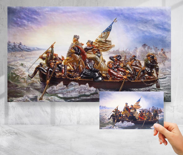 <p>3DPhotoworks, meanwhile, has created a 3-D version of Emanuel Leutze's <em>Washington Crossing the Delaware</em>.</p>
