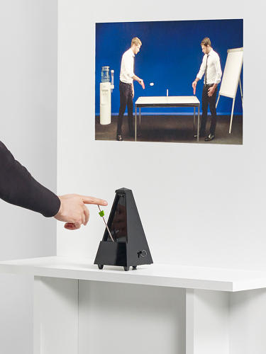 <p>ECAL/Luca Kasper &amp; Callum Ross<br /> A metronome controls the pace of a table tennis match.</p>