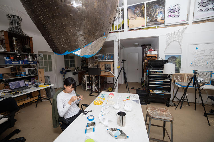 <p>Future Forward artists at work on their installation.</p>