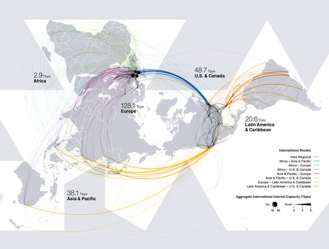 <p>Connectivity is becoming as important as trade. This map shows how the Internet connects us across borders--Europe is by far the biggest hub.</p>