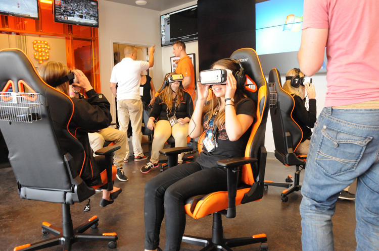 <p>Giants employees watch the VR content for the first time, just minutes before they will start showing it to fans.</p>