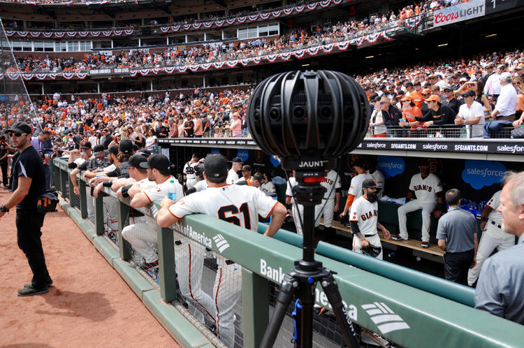 <p>A Jaunt VR camera is set up just outside the Giants dugout at AT&amp;T Park on Opening Day, April 7, 2016.</p>