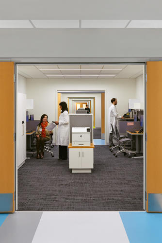 <p>Collaborative staff workspaces in lieu of private offices help add more room for patient care.</p>