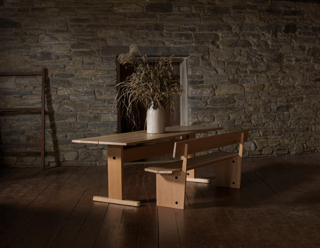 <p>Trestle table and bench by Studio Gorm</p>