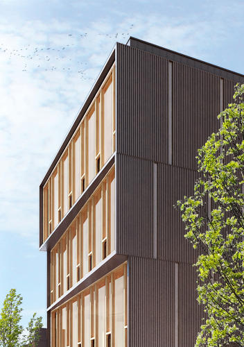 <p>Albina Yard, a four-story timber office building in Portland designed by LEVER Architecture.</p>