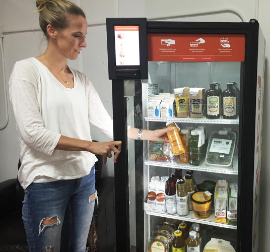 <p>Byte's small fridges are loaded with locally made salads, cold-pressed juices, sandwiches, and coffee from local favorite Blue Bottle.</p>
