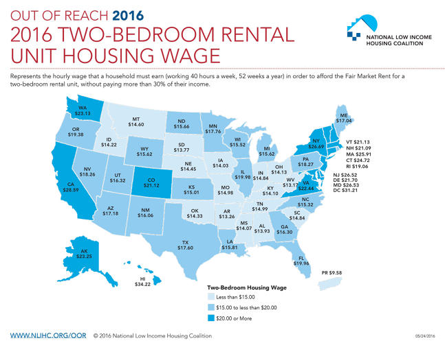 <p>In its new &quot;Out Of Reach&quot; report, the National Low Income Housing Coalition maps this affordability gap in each state.</p>