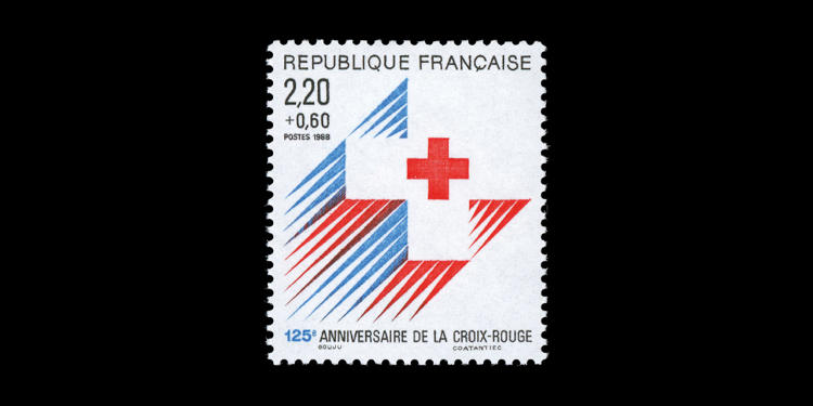 <p>125 Anniversary of the Red Cross, 1988; designed by Maurice Gouju and Raymond Coatantiec</p>