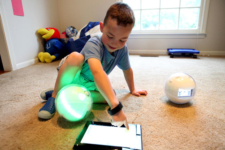 <p>Leka, a robotic smart toy designed to teach multiple skills, helps coach children through games like hide and seek.</p>