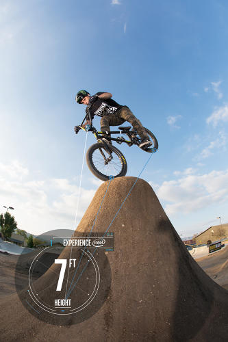 <p>BMX Dirt athletes will utilize Intel's Curie module at X Games Austin. Kyle Baldock works with Intel Engineers during a test session in California.</p>