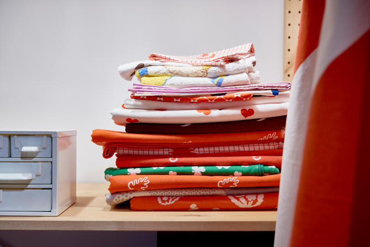<p>A stack of Ikea's famous fabric</p>