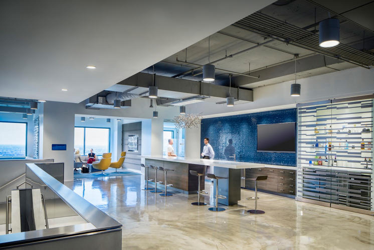 <p>Lockton recently installed a fully stocked bar in its new office space to help employees relax, and to drive camaraderie.</p>