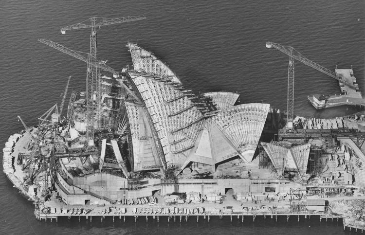 <p>Sydney Opera House under construction. 6 April 1966.</p>