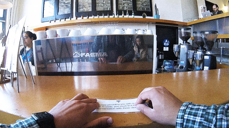 <p>The signs were part of an experiment from artist Ivan Cash and filmmaker Michael Reiner, who covertly slipped them into cafes to see how people would react.</p>