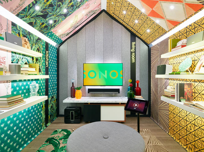 <p>One of the seven listening rooms found in the Sonos store in SoHo.</p>