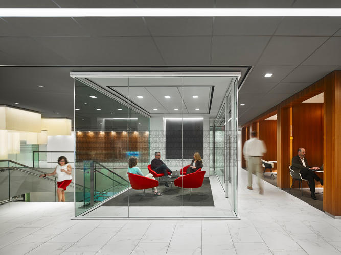 <p>Gensler also renovated the lobby of Marriott's headquarters.</p>