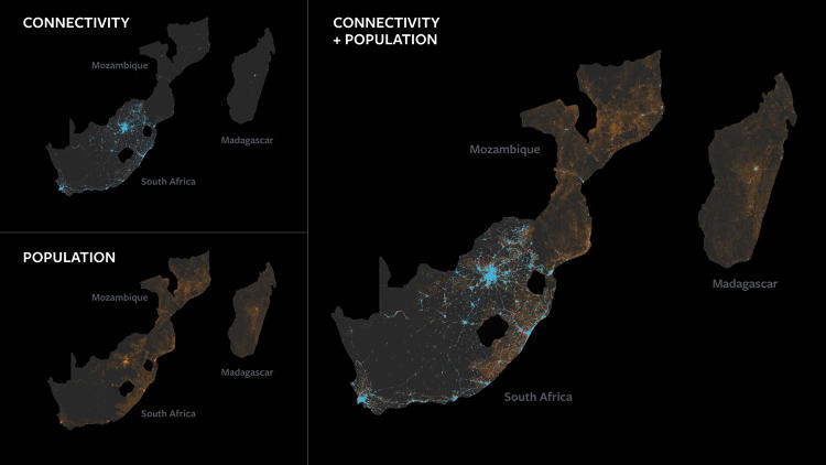 <p>Connectivity and population distribution maps.</p>