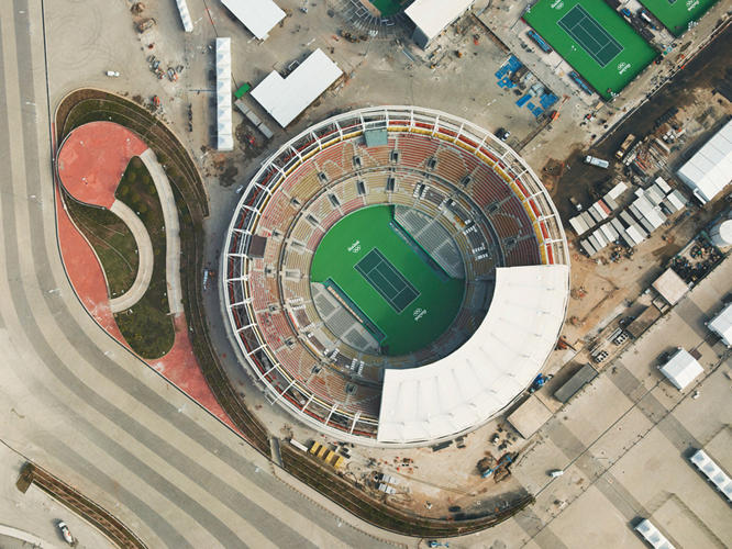 <p>The Olympic tennis arena for the summer 2016 games in Rio, starting August 5.</p>
