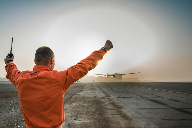 <p>In theory, the Solar Impulse 2--covered in more than 17,000 solar cells--could have made the trip without stopping.</p>