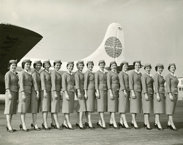 <p>Pan American World Airways stewardesses in uniforms by Don Loper, 1959</p>