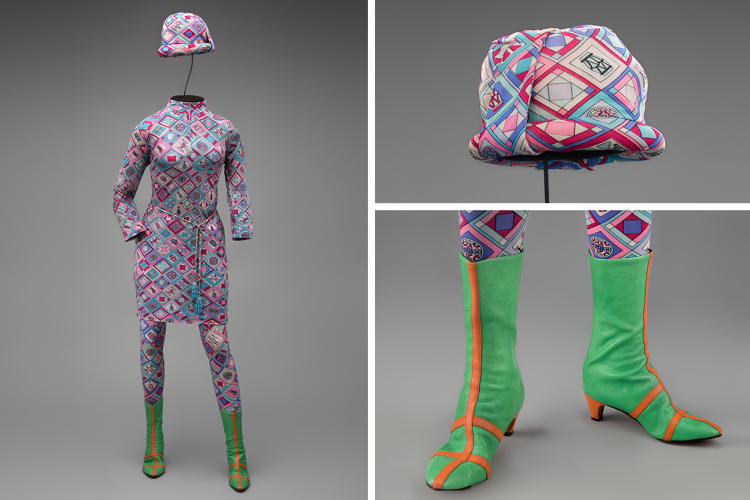 <p>Braniff International Airways hostess uniform by Emilio Pucci, 1966</p>