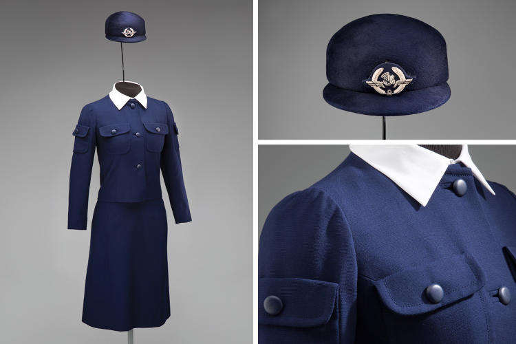 <p>Air France stewardess uniform by Cristóbal Balenciaga, 1969</p>