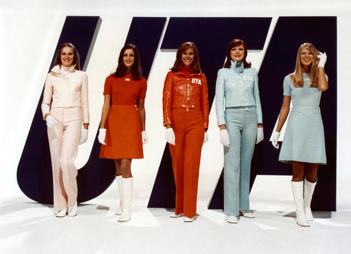 <p>Union de Transport Aériens flight attendants in uniforms by André Courrèges, 1973</p>