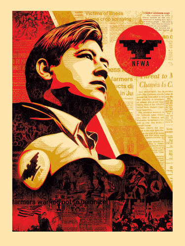 <p>Shepard Fairey x Jim Marshall, <em>Workers' Rights</em>, American Civics Series, 2016</p>  <p>Cesar-Chavez-American-Civics</p>