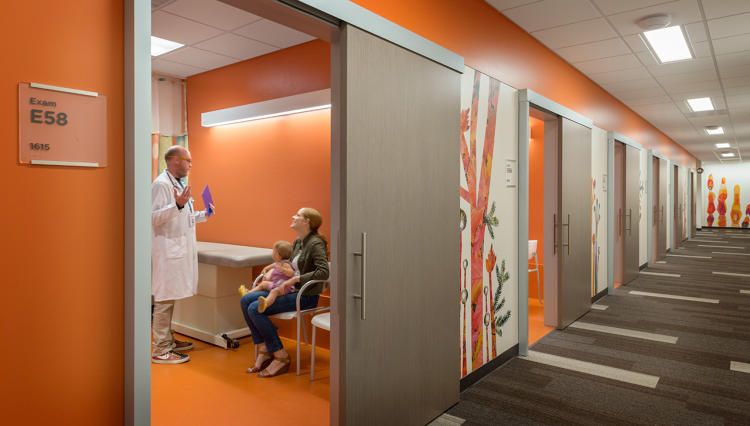 <p>A new wall of glass brings in natural light. The design focuses on patient flow, so patients can be seen as quickly as possible.</p>