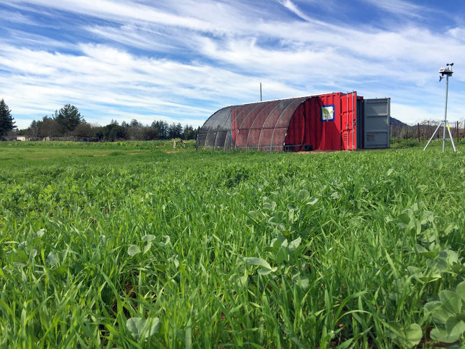 <p>Farm from a Box generates solar power and collects rainwater (or connects to a well or a city supply).</p>