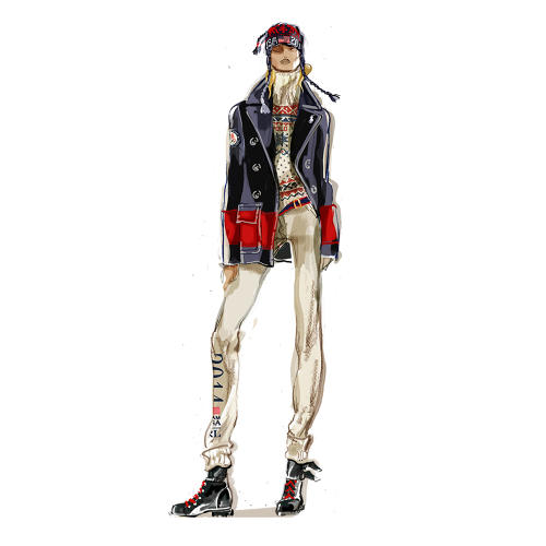 <p>A sketch of a women's pea coat from the 2012 Sochi Olympics closing ceremony</p>