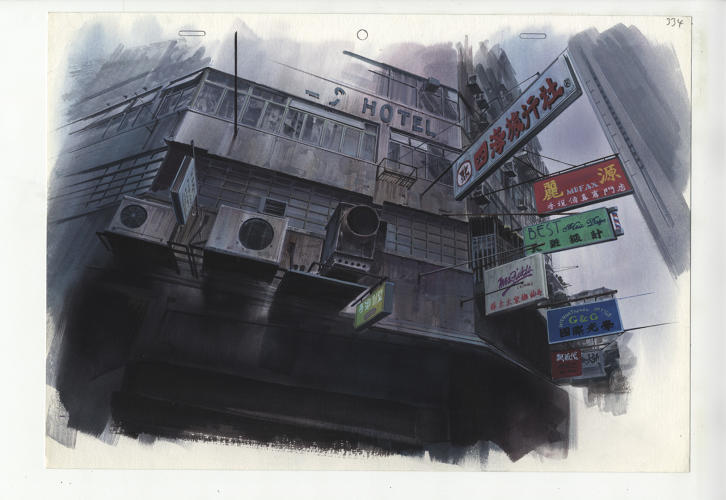 <p>Background for Ghost in the Shell (1995), cut 334<br /> Pencil and coloured pencil on printed paper Illustrator: Hiromasa Ogura.</p>