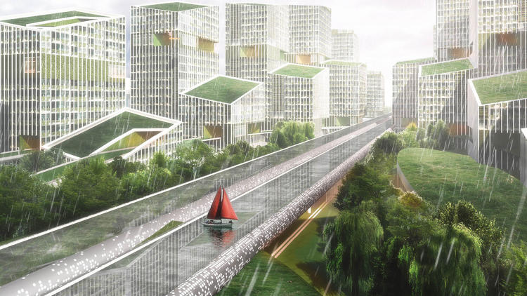 <p>Under the proposed elevated highway, the designers envision green spaces and pod-like coworking offices.</p>