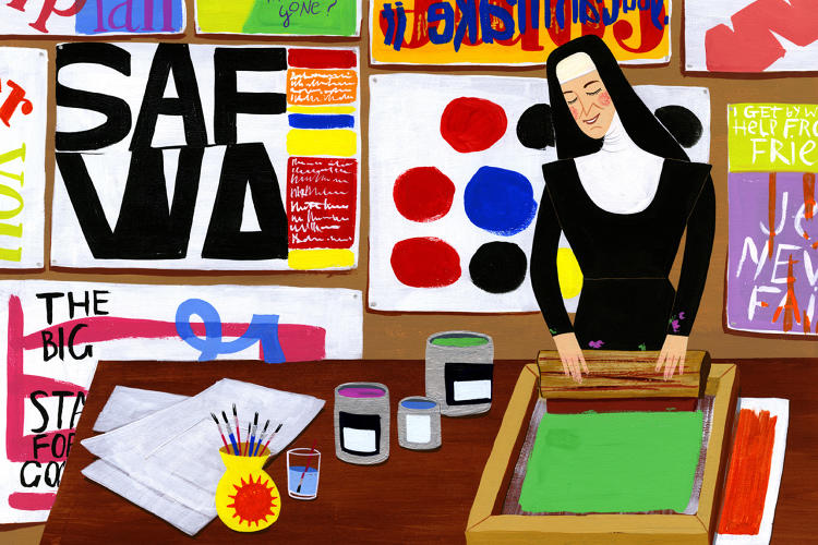 <p>Sister Corita Kent's prints often included a spiritual twist on advertising slogans.</p>