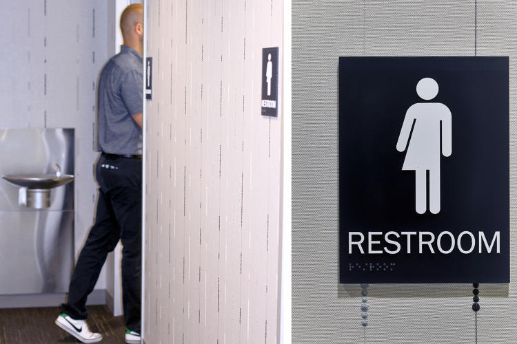 <p>The bathrooms at Whitman-Walker have stalls with doors that extend from floor to ceiling and a shared sink. It saves space while being gender inclusive.</p>
