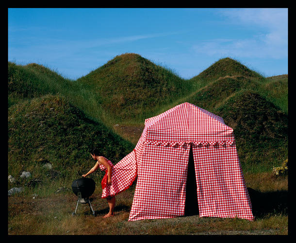 <p><em>Picnic Dress Tent (Installed in green tailings off of Highway 5 near Tracy, CA)</em>, 2005.</p>