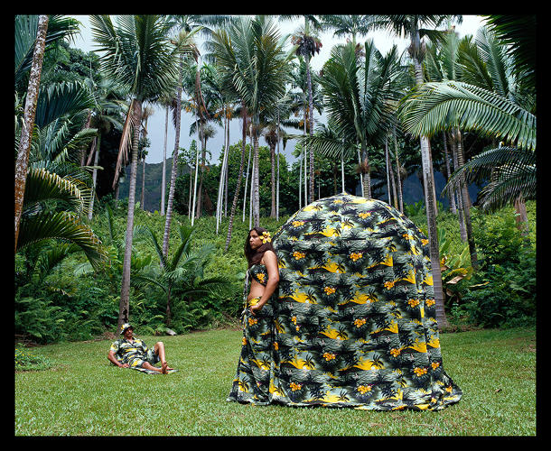 <p><em>Bound to Leisure Dress Tent (Installed at Ho'omaluhia Botanical Garden, Oahu)</em>, 2005.</p>