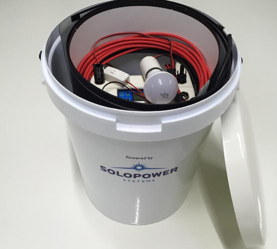 <p>The kit, with a flexible, durable solar panel, a battery, connectors, lighting, and chargers, fits inside a plastic bucket--it weighs only 20 pounds.</p>