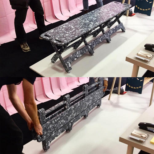 <p>For Open Desk's installation &quot;Furniture Is Not Working,&quot; designer <a href=&quot;http://www.paulaarntzen.nl/&quot; target=&quot;_blank&quot;>Paula Arntzen</a> created this bench that collapses flat for easy moving.</p>